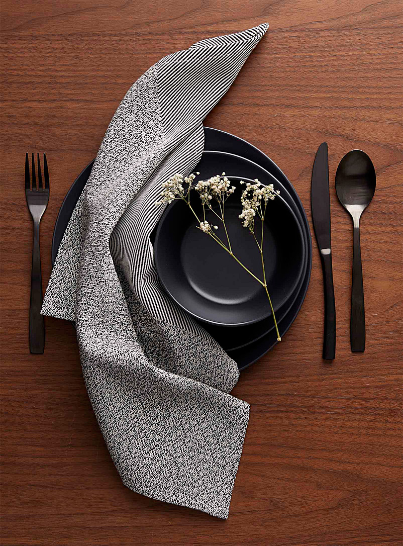 Pixtil Black Black and white twill napkin