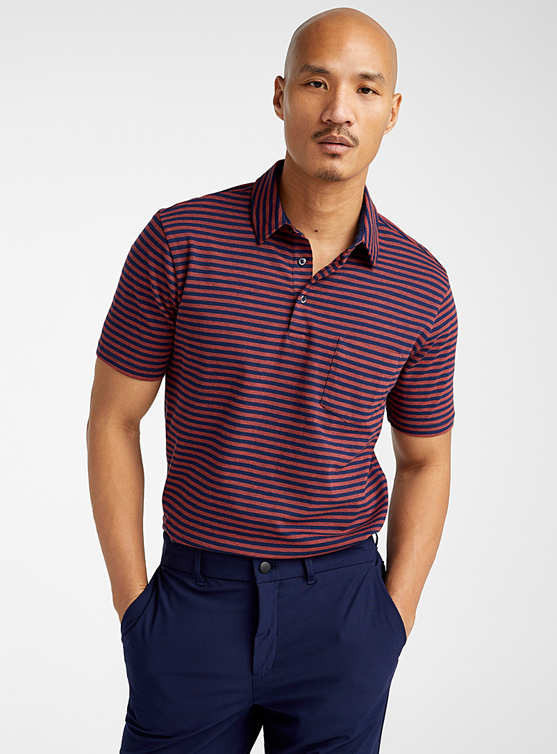 Le 31 Marine Blue Organic cotton striped polo for men