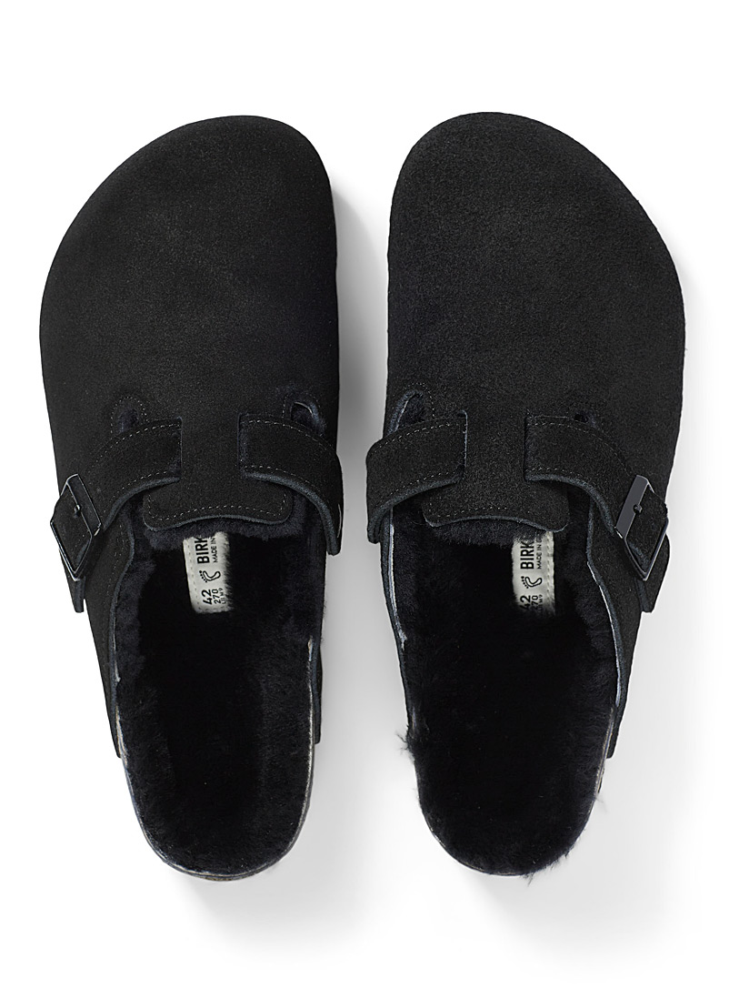 Birkenstock Black Boston shearling mule slippers  Men for men