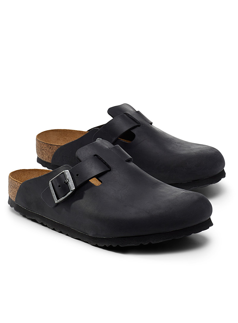 Birkenstock Black Boston leather mules Men for men