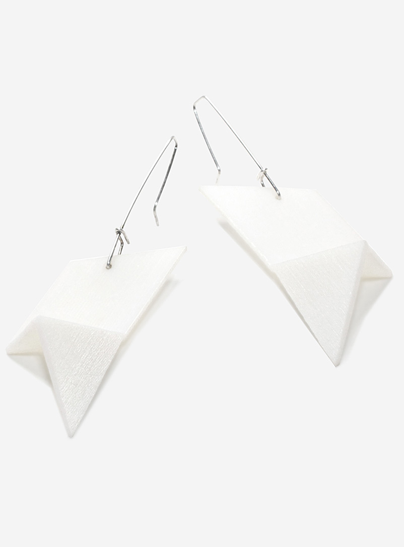 Racer pendant earrings - Design + Conquer - White