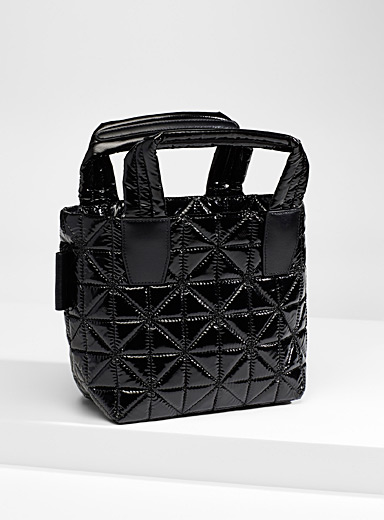 VeeCollective Black  Vee small quilted tote for women