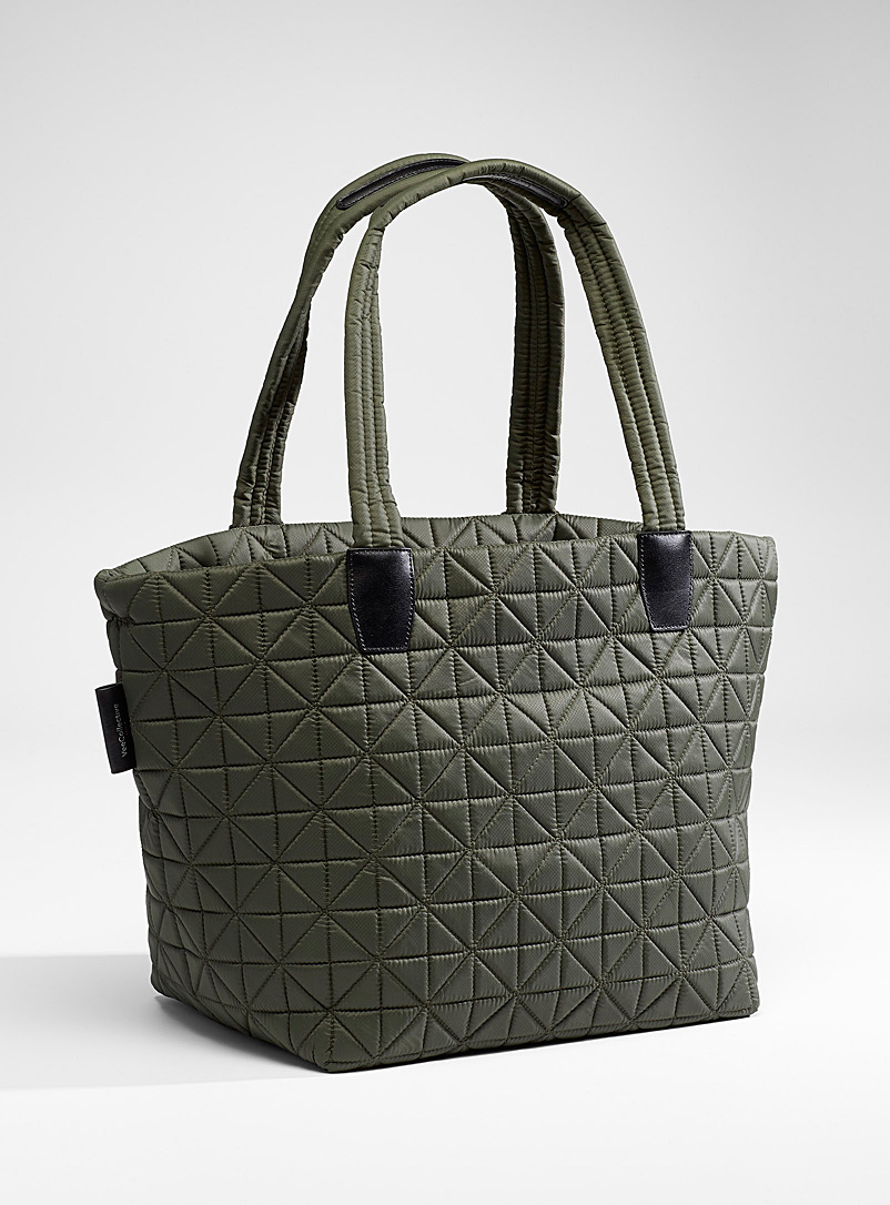 VeeCollective Mossy Green Vee quilted tote for women