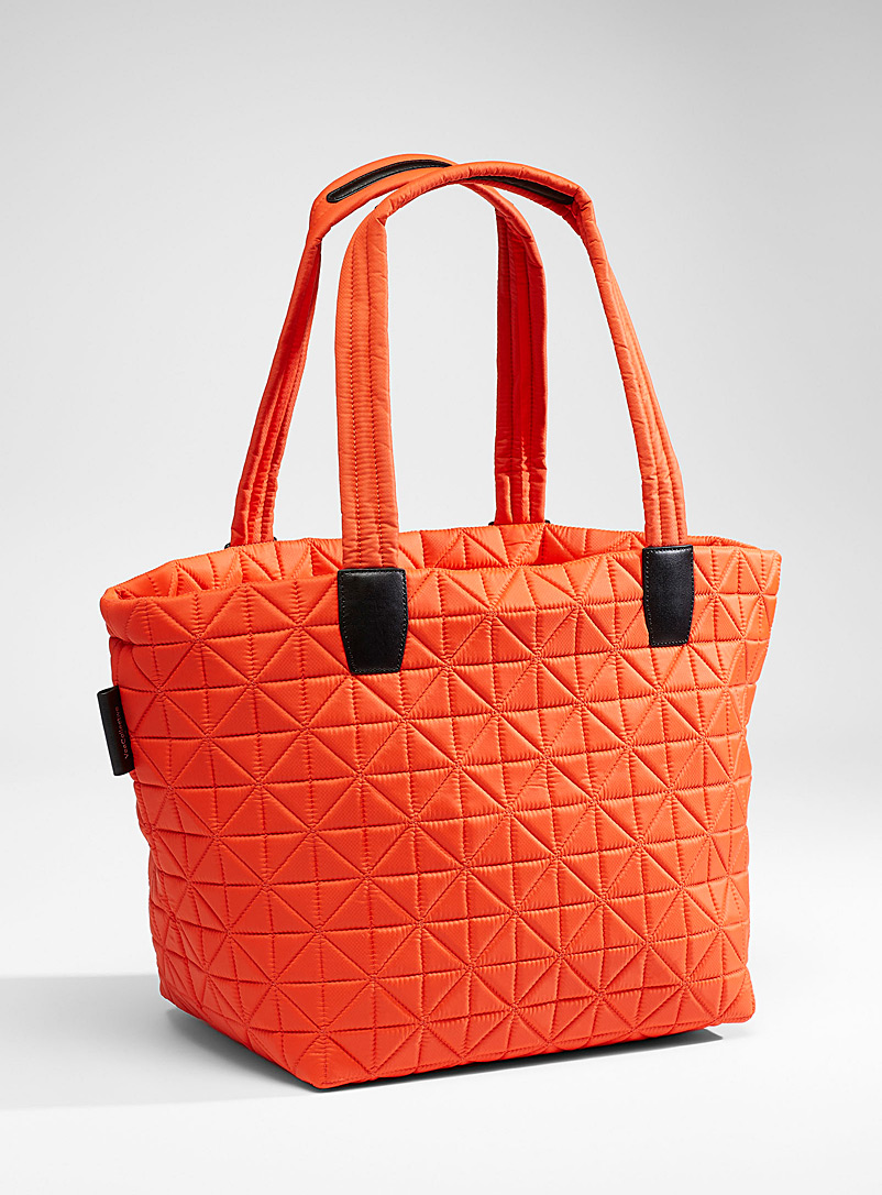 VeeCollective Orange Vee quilted tote for women