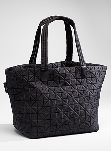 VeeCollective Black Vee large quilted tote for women