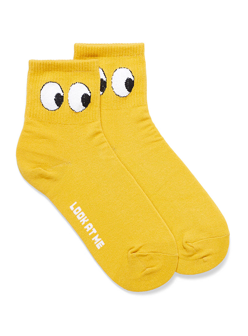 Le 31 Golden Yellow Batting eyes ankle socks for women
