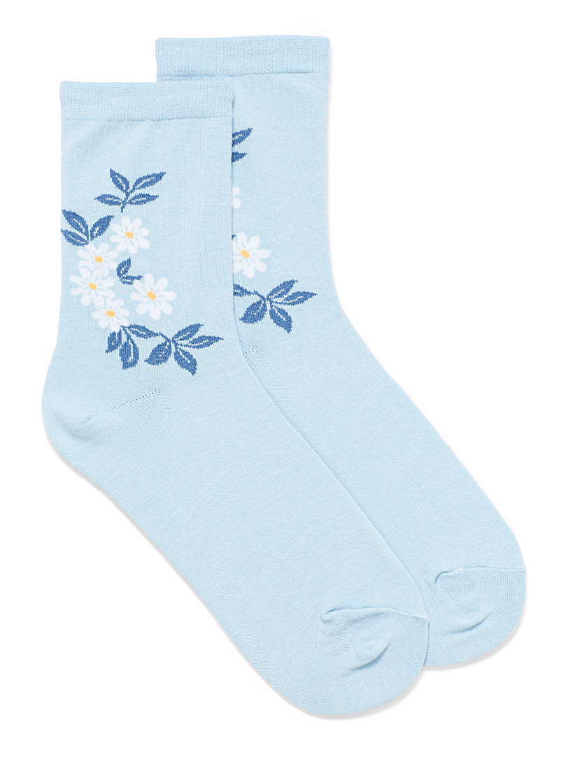 Simons Baby Blue Flower bunch ankle socks for women