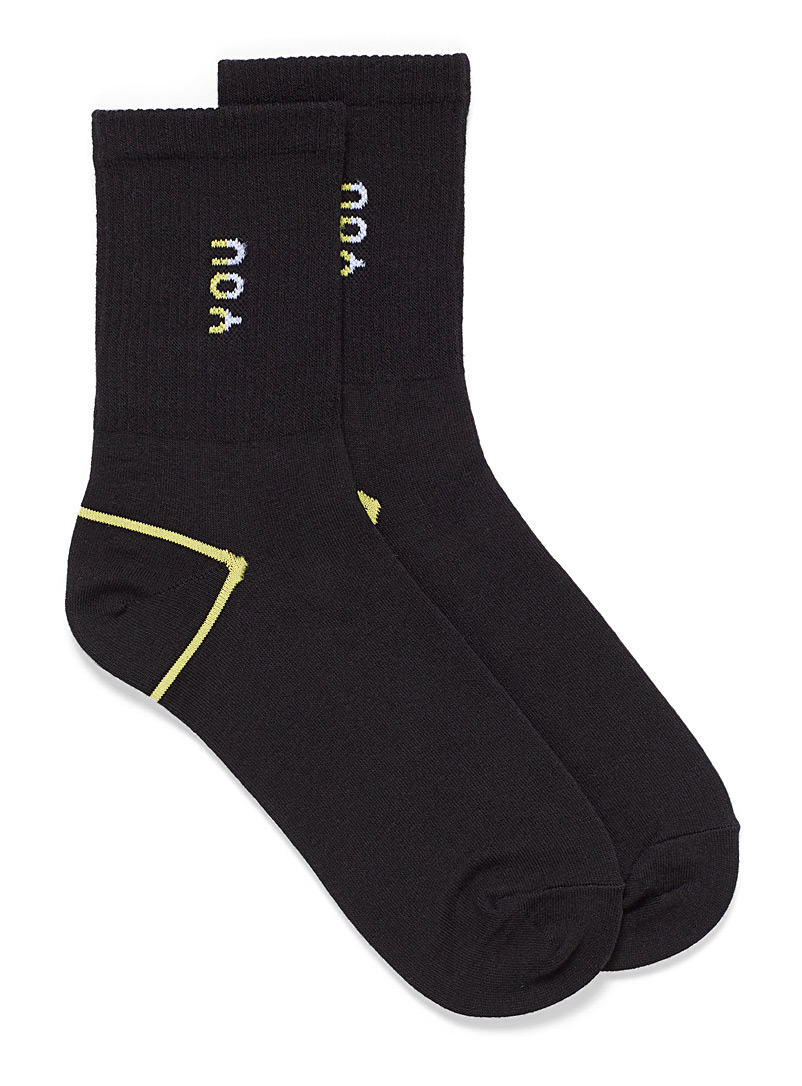 Simons Black You and I ankle socks for women