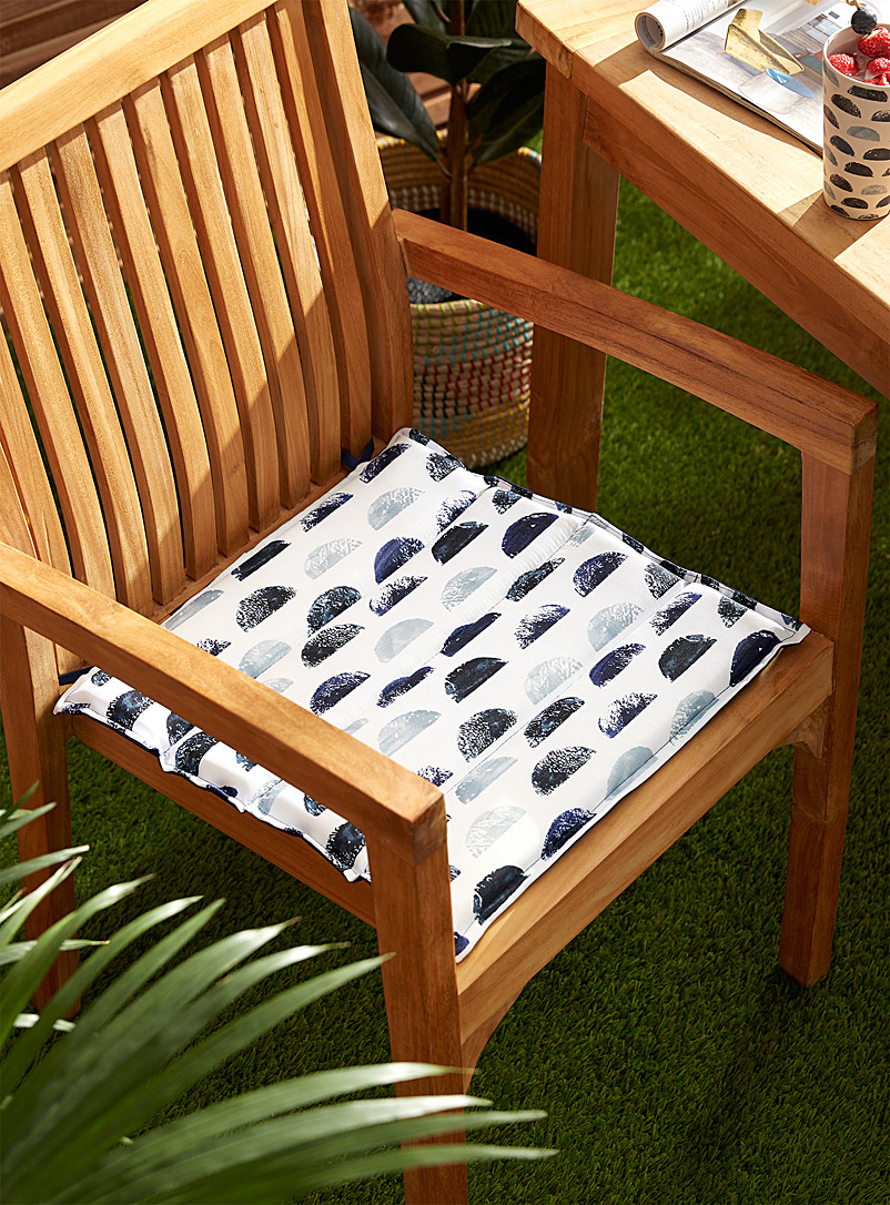 Simons Maison Patterned Blue Seaside reversible outdoor chairpad 40 x 40 cm
