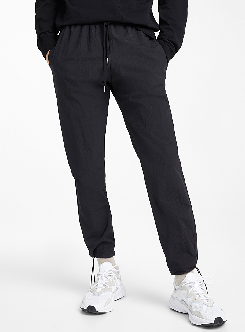 Le 31 Black Nylon fabric joggers for men