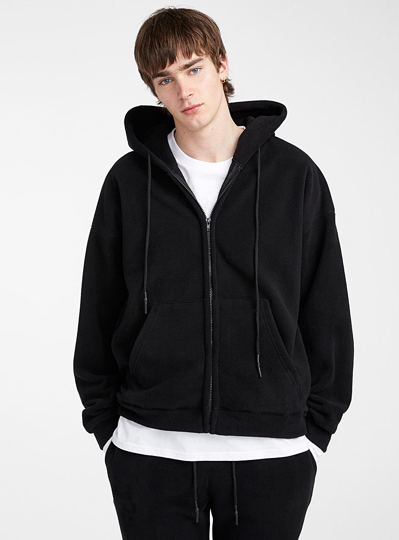 Le 31 Black Hooded fleece cardigan for men