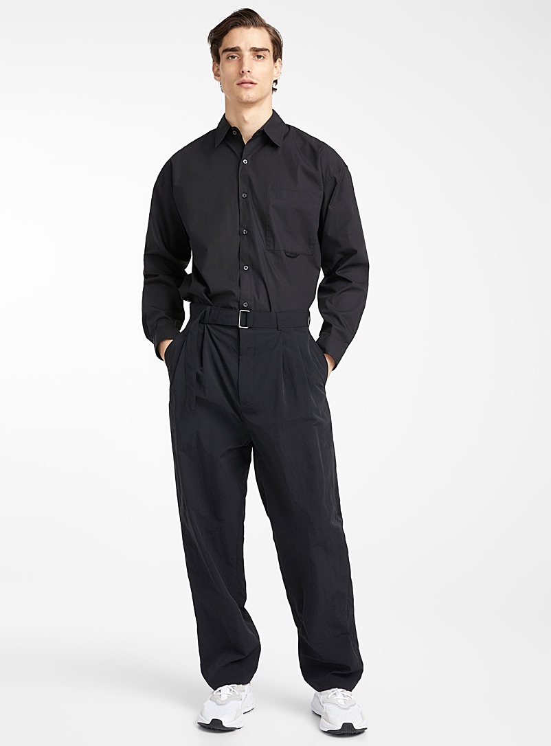 Belted nylon pant - Straight fit - Black