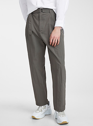 Le 31 Mossy Green Belted nylon pant for men