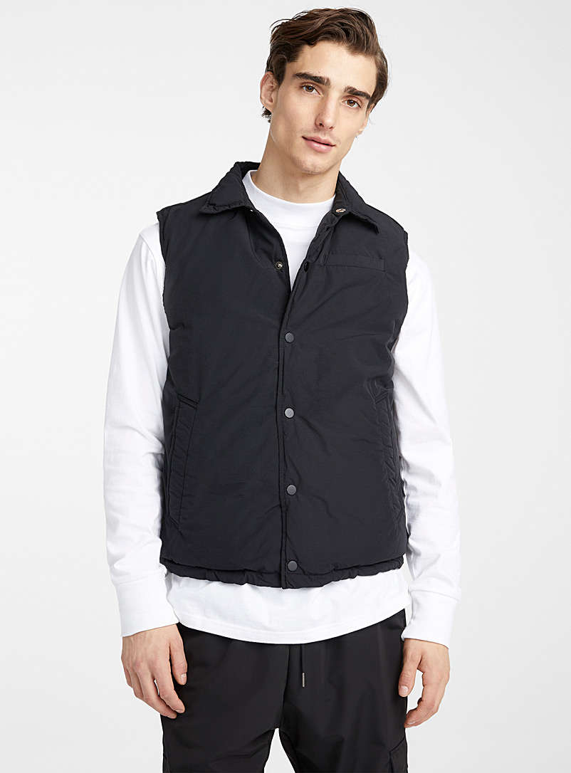 Le 31 Black Sleeveless puffer jacket for men