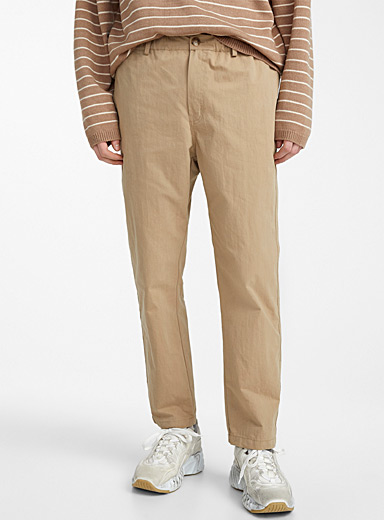 Le 31 Light Brown Stretch waist pant for men