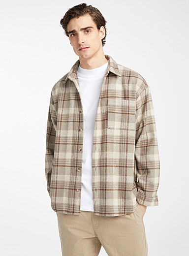 Le 31 Light Brown Natural check shirt for men