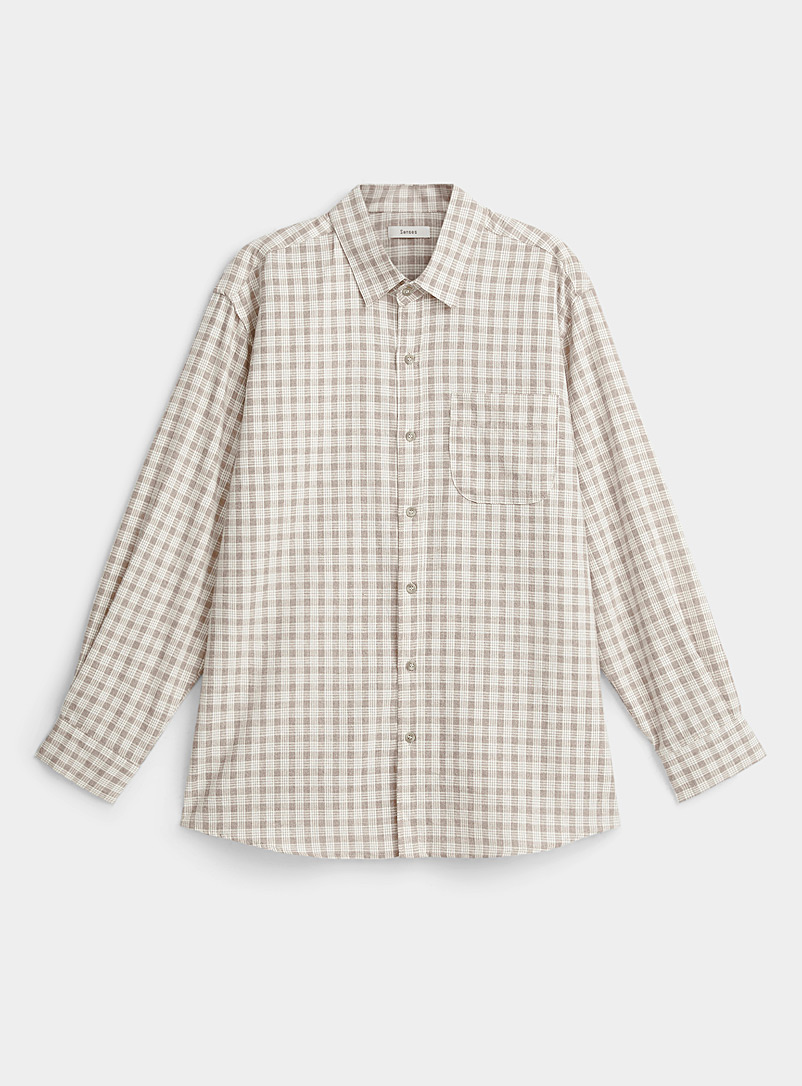 Djab Cream Beige Two-tone check flannel shirt for men