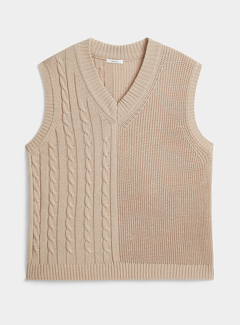 Djab Cream Beige Two knit tank for men