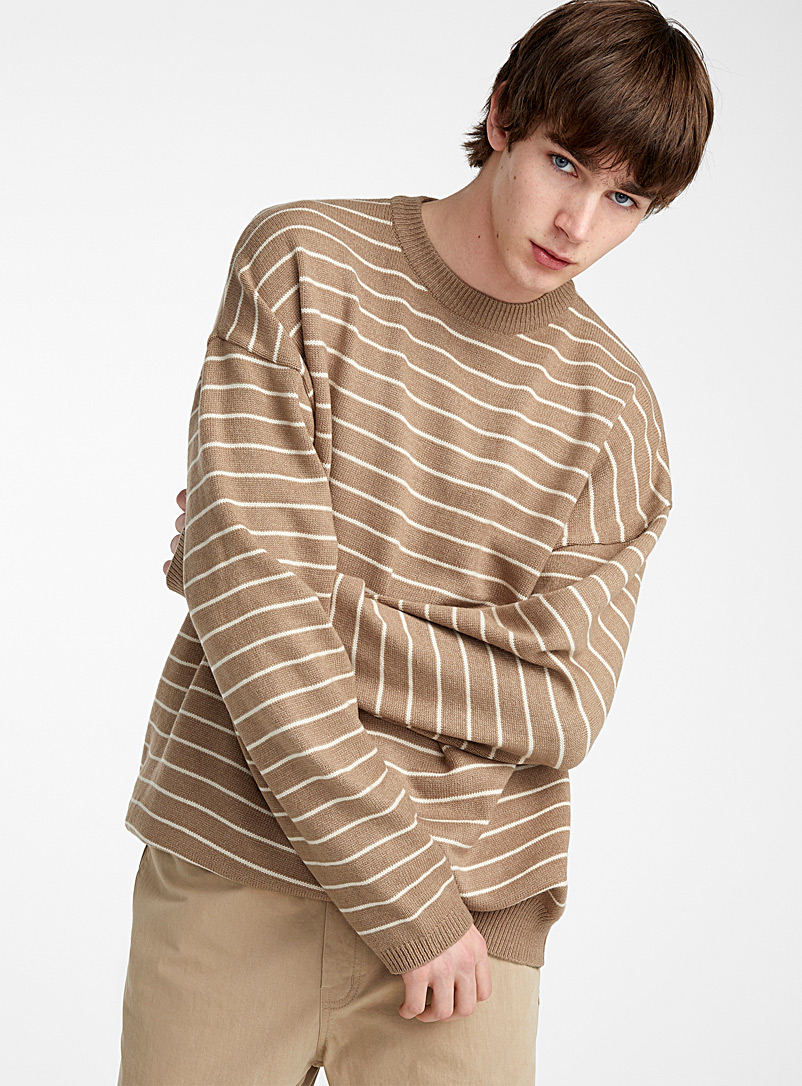 Le pull ample rayure naturelle - Cols ronds - Brun pâle-taupe