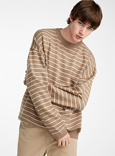Loose natural stripe sweater