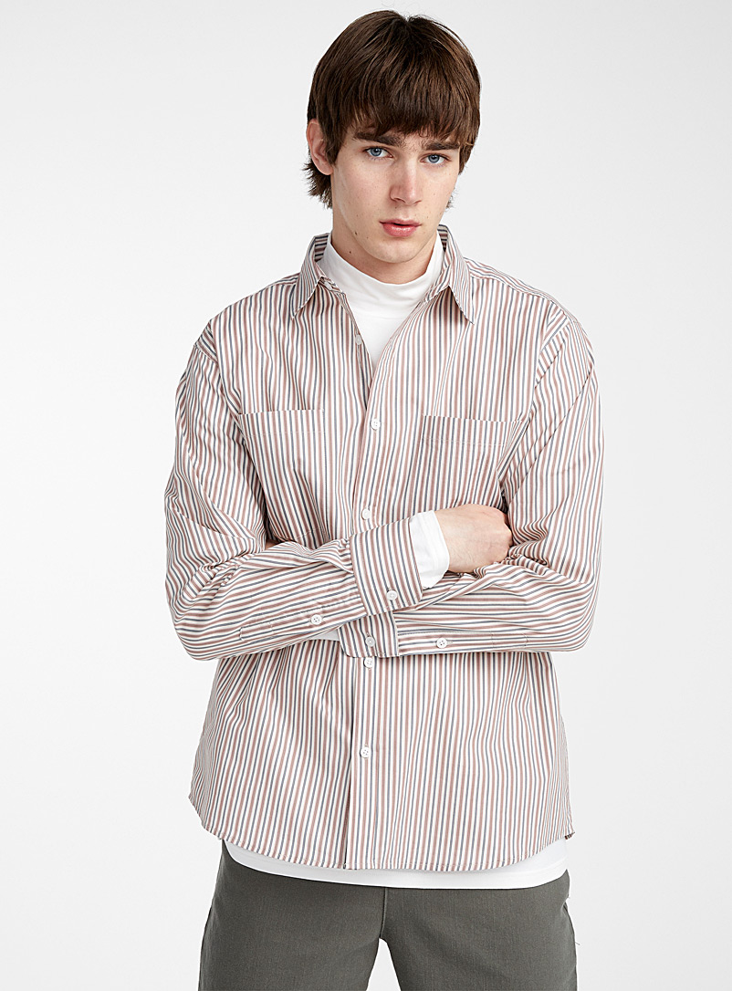 Le 31 Grey Striped pyjama shirt for men