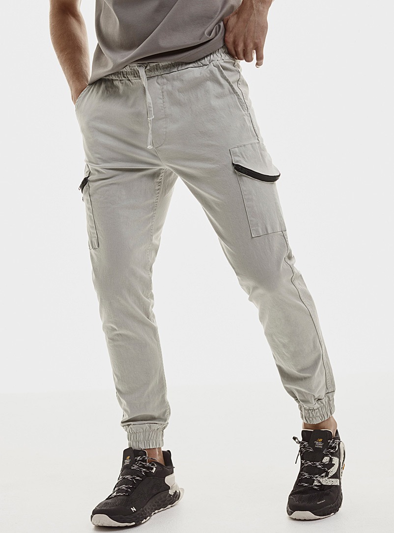 Le 31 Grey Accent zip cargo joggers for men