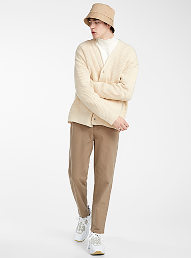 Le 31 Cream Beige Rib-knit cardigan for men