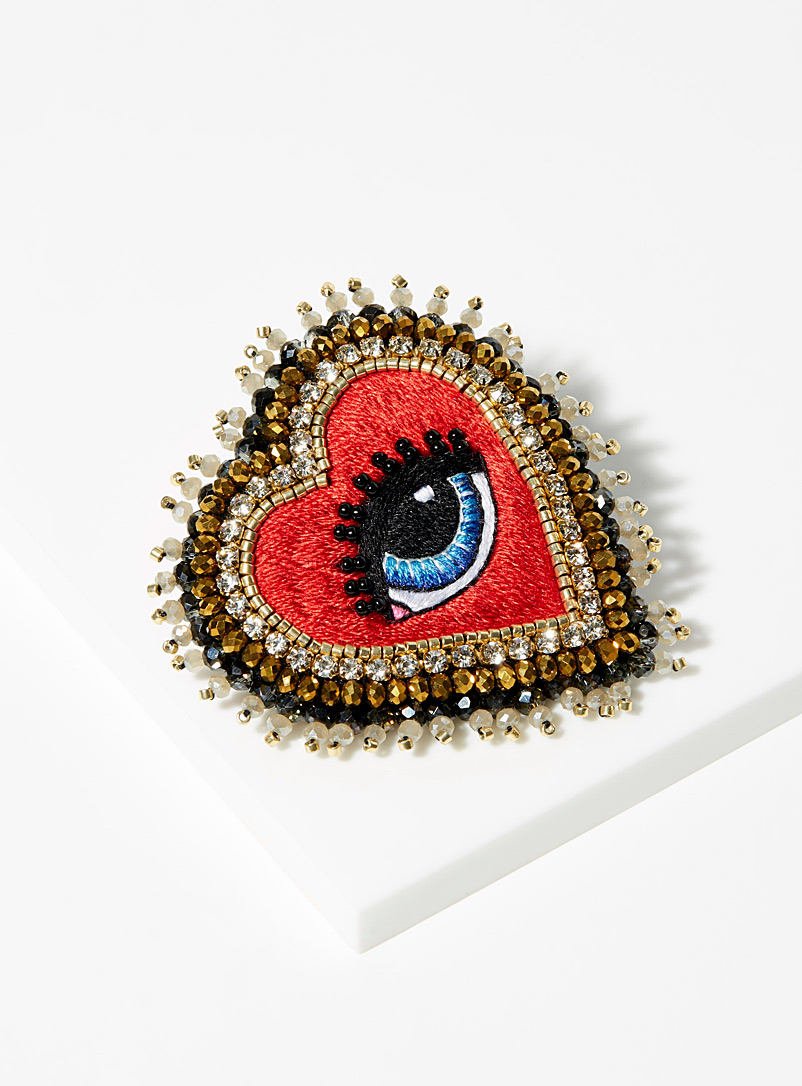 Love eye brooch - Designer Jewellery - Assorted red