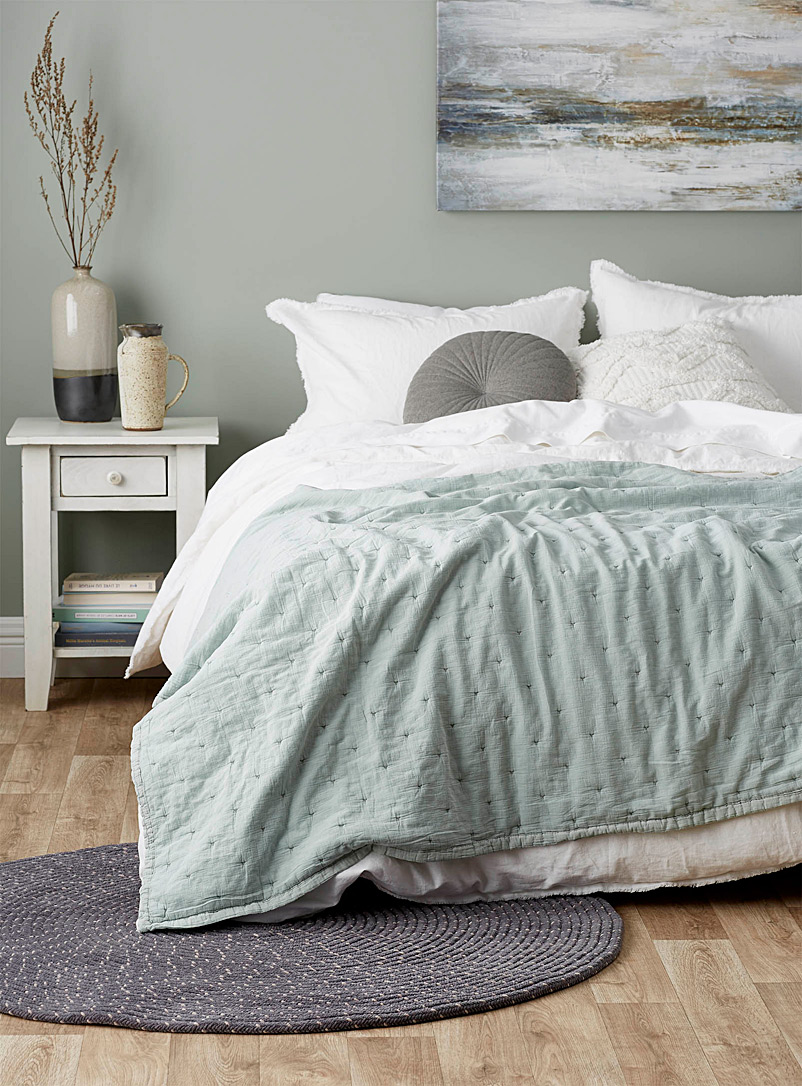 Calma House Baby Blue Sage green padded throw  120 x 180 cm