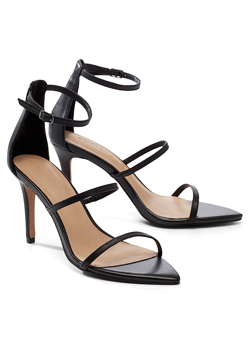 Simons Black Minimalist strap heeled sandals for women