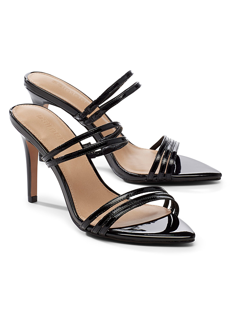 Simons Black Pointed-toe patent leather heeled sandals for women