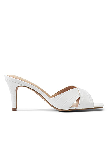 Simons White Faux-croc heeled sandals for women
