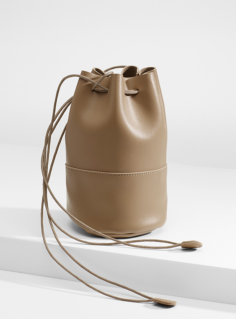 Small artisanal bucket bag - Crossbody Bags - Brown