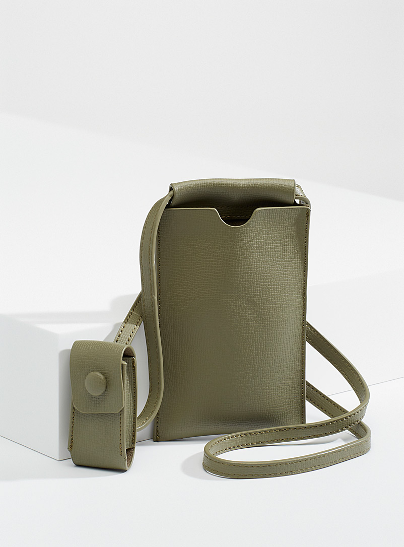 Simons Mossy Green Phone and lip balm clutch for women
