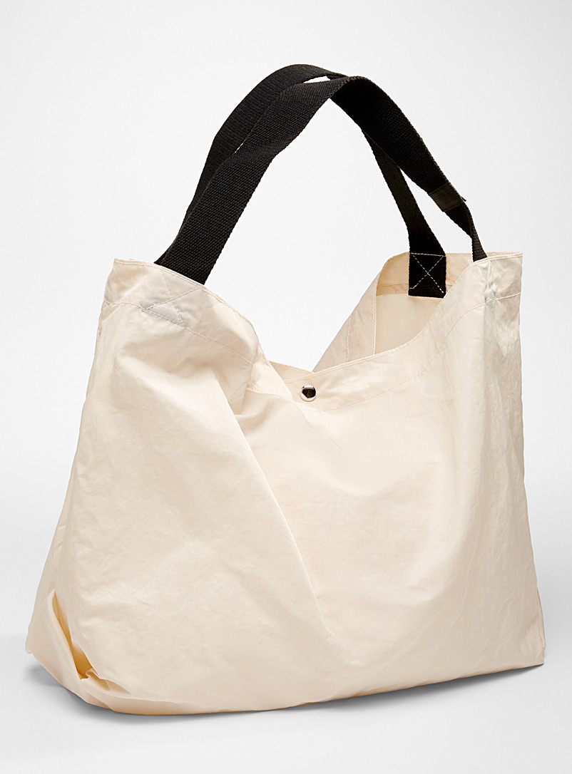 Simons Ivory White Large rugged fabric tote for women