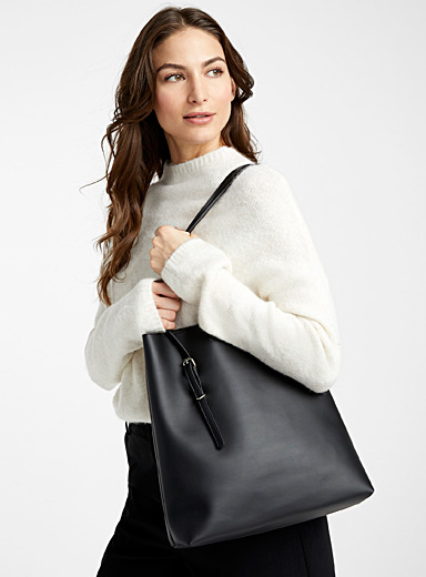 Simons Black Faux-leather tote and clutch for women
