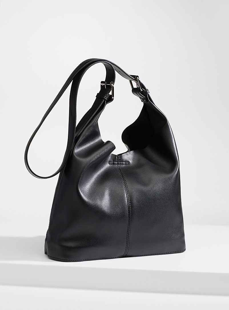 Simons Black Supple saddle bag and clutch for women