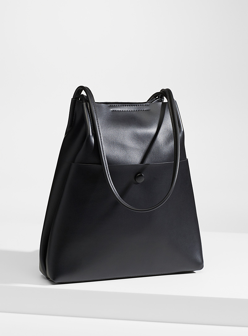 Simons Black Supple matte tote for women
