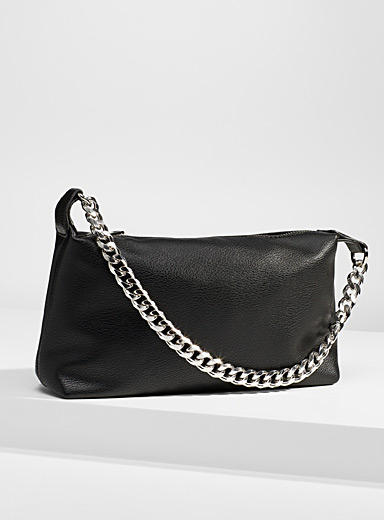 Silver-chain barrel bag