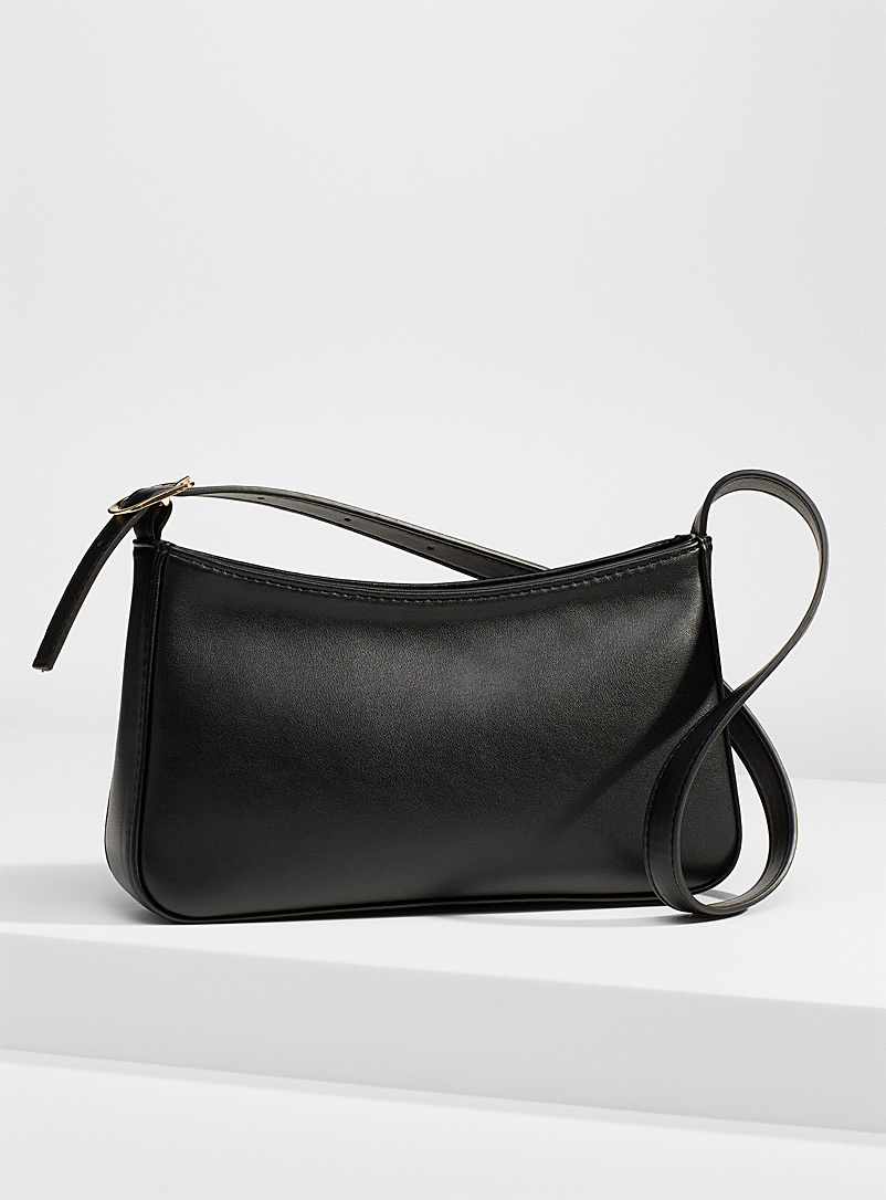 Simons Black Minimalist baguette bag for women