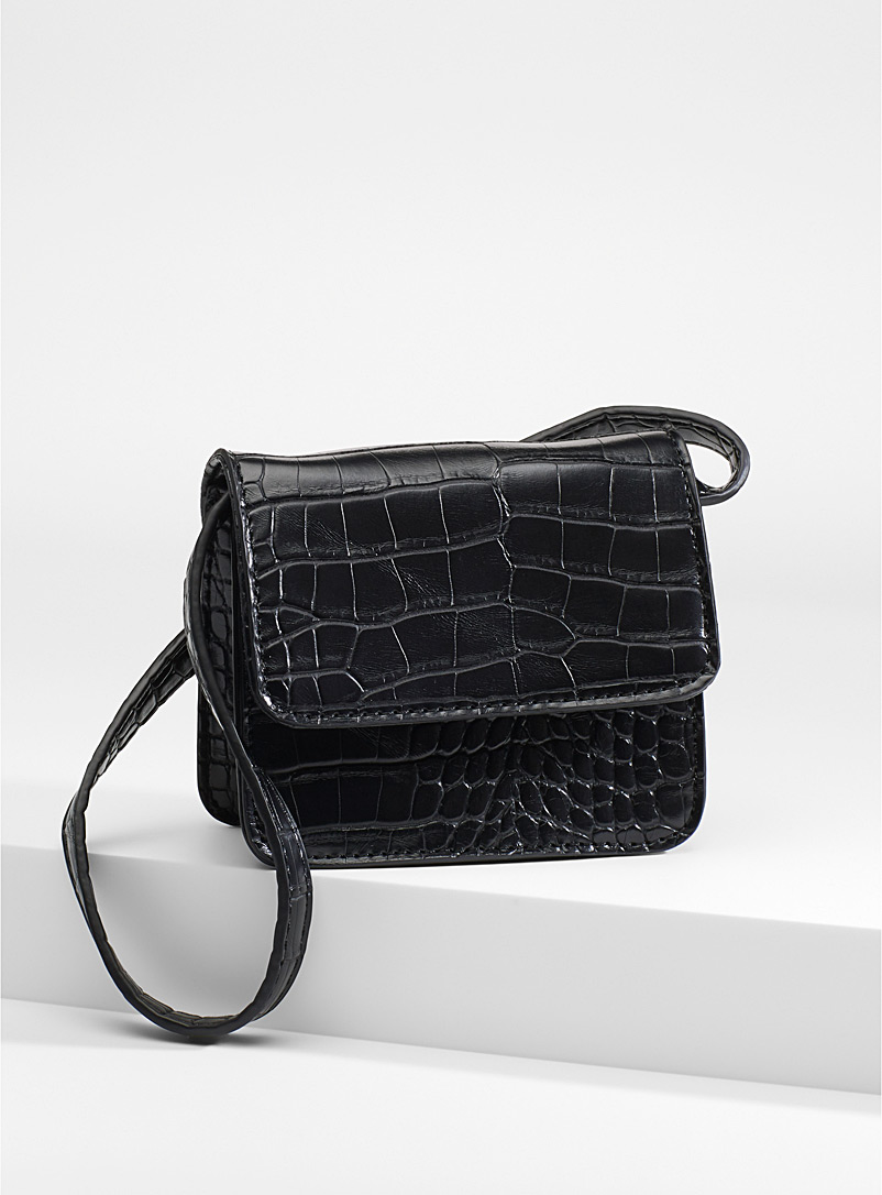 Croc-like mini shoulder bag - Clutches and Minaudieres - Black