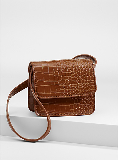 Simons Fawn Croc-like mini shoulder bag for women