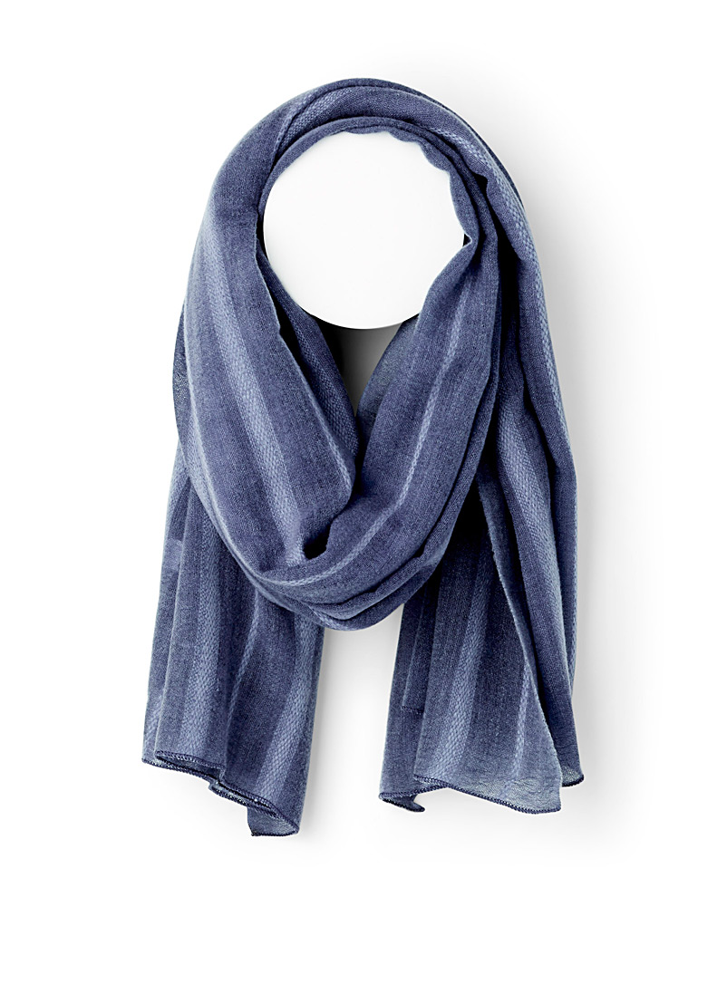 Simons Blue Silky wool scarf for women