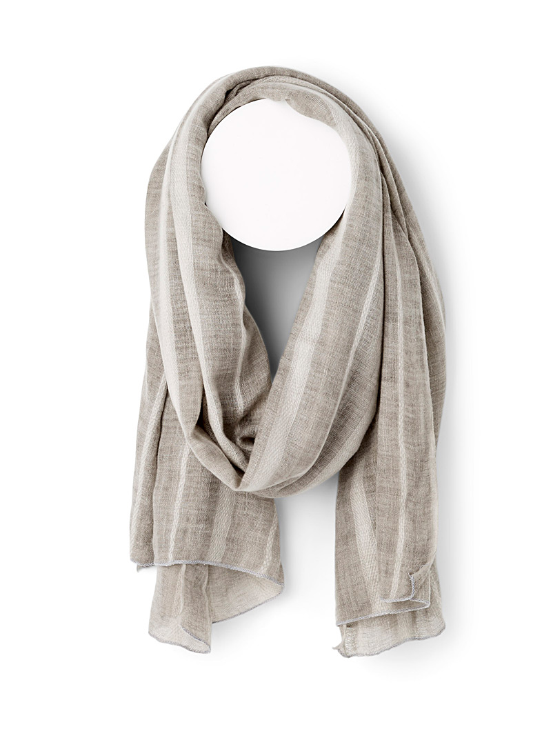 Simons Light Grey Silky wool scarf for women