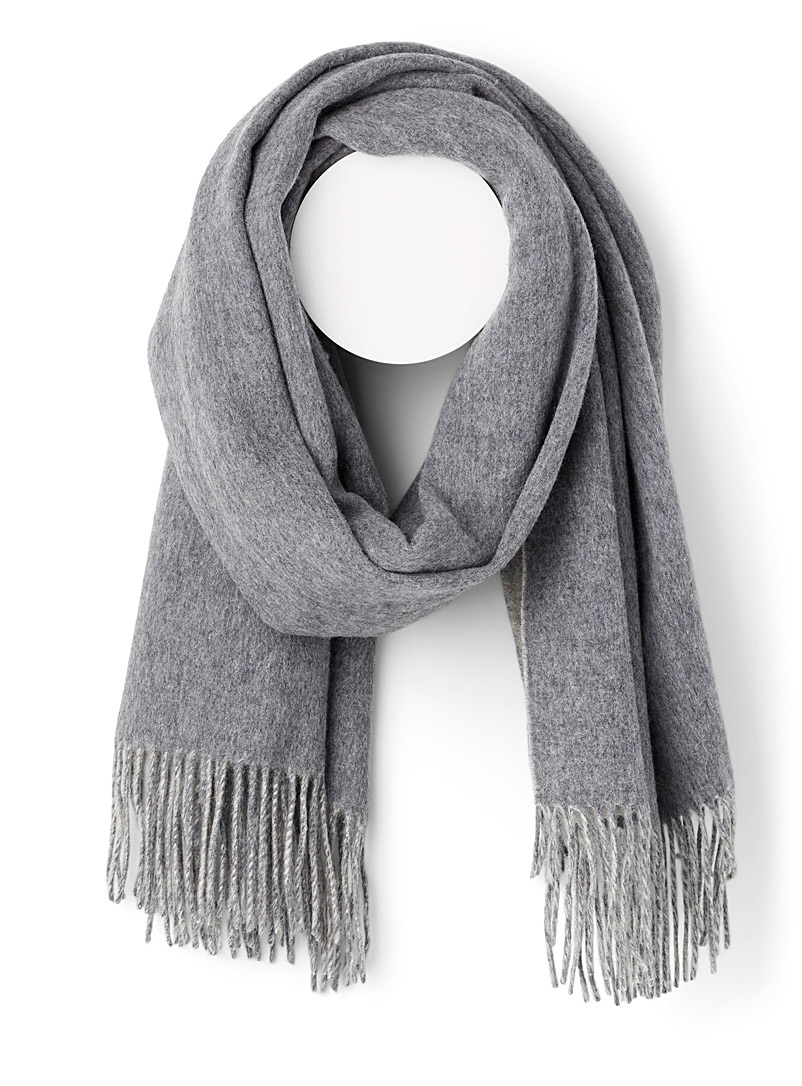 Two-tone wool scarf - Winter Scarves - Light Grey