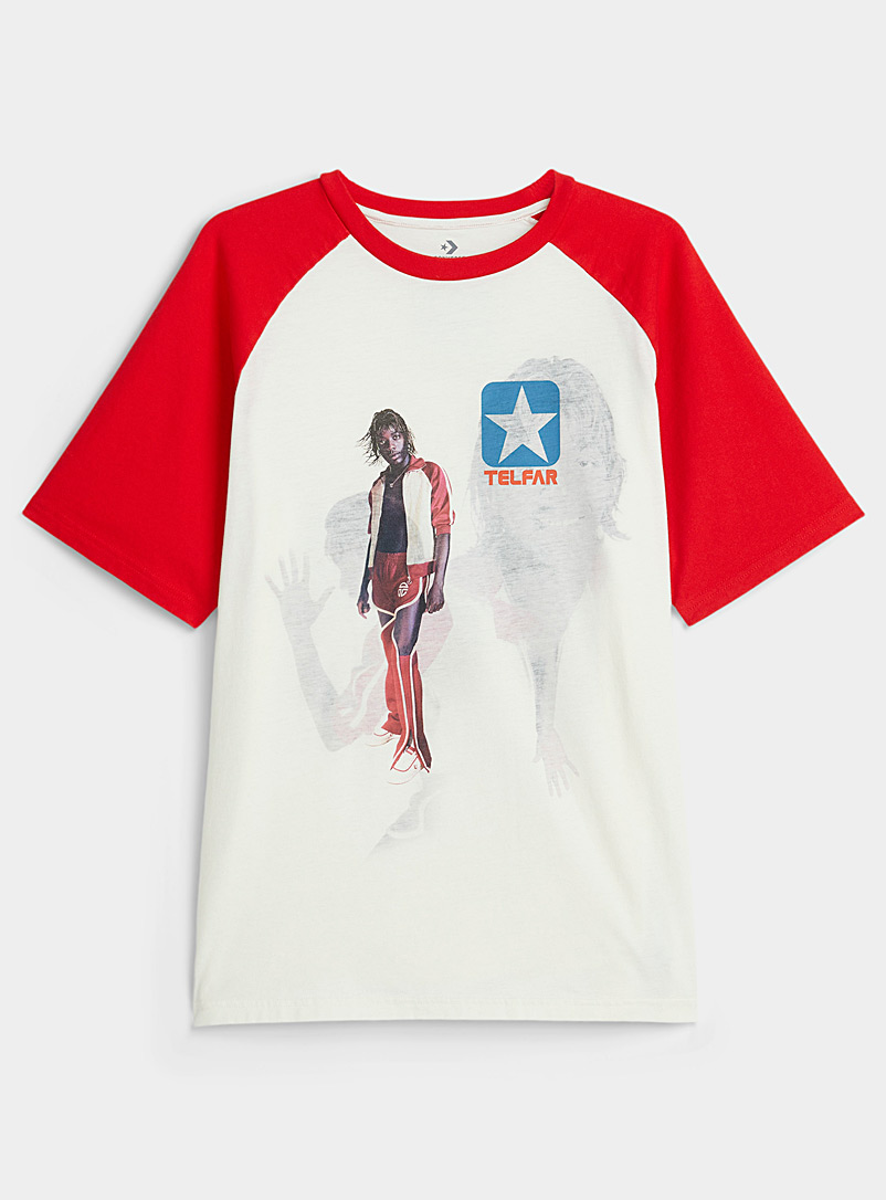 Telfar Red Contrast raglan tee for women