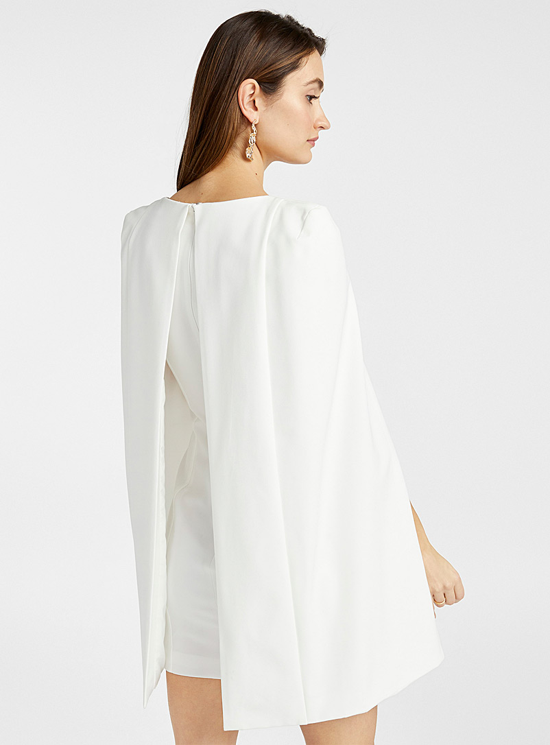 Lavish Alice White Fitted cape dress for women