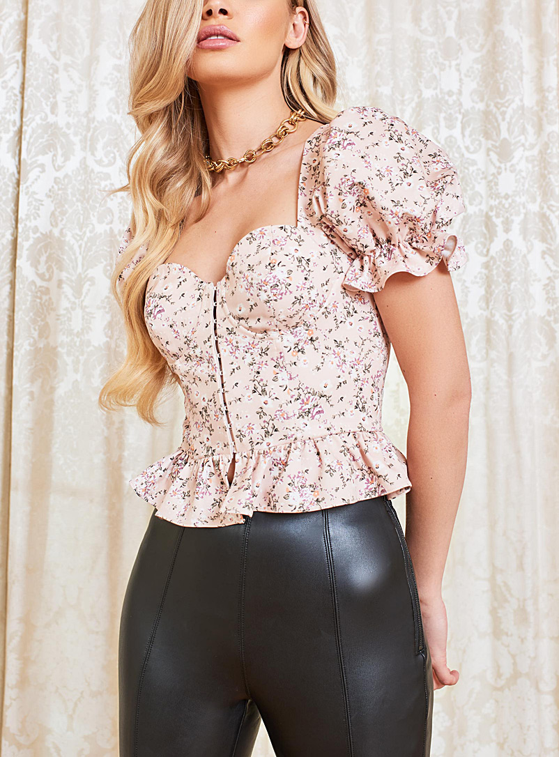 Lavish Alice Patterned Ecru Floral corset blouse for women