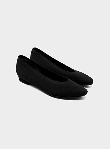 Seven All Around Black Small heel knit ballet flats for women