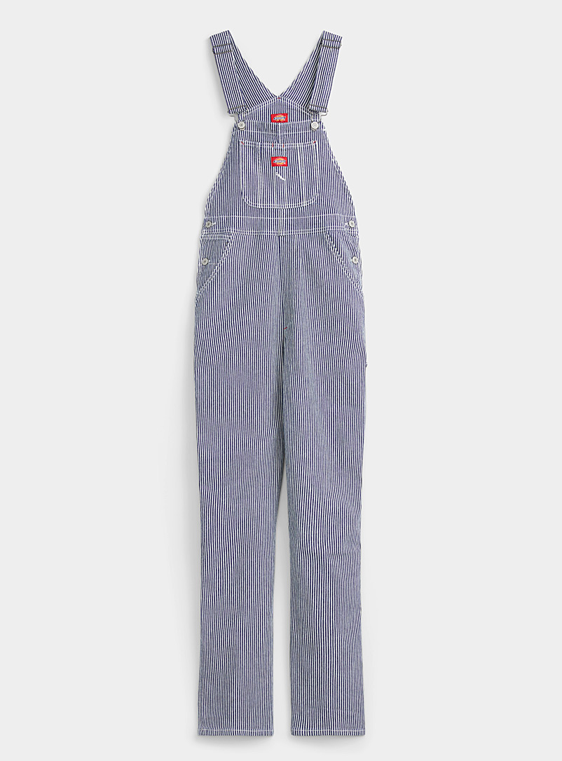 Dickies Marine Blue Striped utility overalls for women